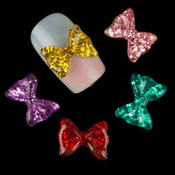 10Pcs 3D Resin Bowknot Design Art Nail Decorations Tips