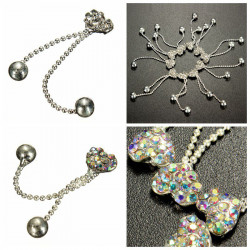 10er Metallkristallrhinestone Nagel Kunst Dekoration Herzform Quasten