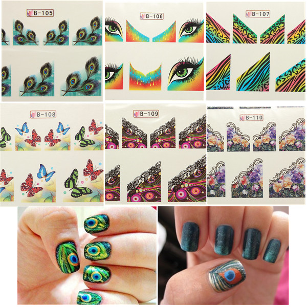 10X Peacock Feathers Butterfly Nail Art Sticker Tips 6 Style Nail Art