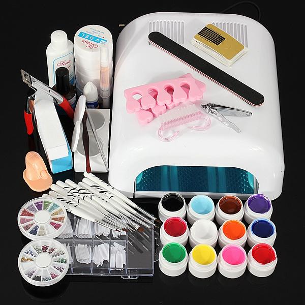 110V 36W Nagelkonst UV Gel Dryer Lamp Manicure Kit Set Naglar