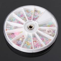 1200st Rosett Pearl Blomster Nagelkonst DIY Dekoration Hjul