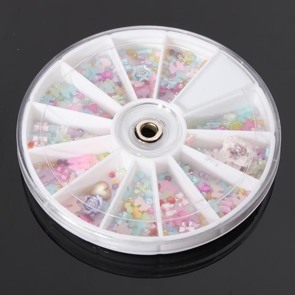 1200st Rosett Pearl Blomster Nagelkonst DIY Dekoration Hjul Naglar
