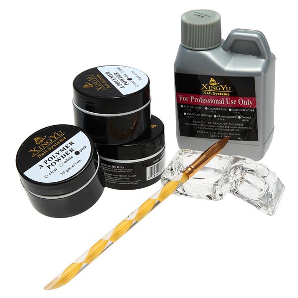 120ml Akryl Vätska Pulver Pen Skålen Nagelkonst Set Kit Naglar