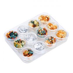 12 Boxes Kobber FOIL Paillette Chip Nail Art Design Tipper Dekorationer