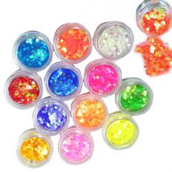 12 Farben Nagel Kunst Hexagon glänzende Glitterpulver 2mm Set