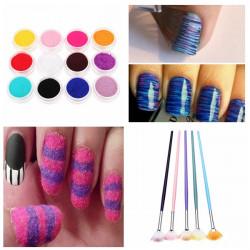 12 Farve Velvet Pulver Dust 5stk Fan Børste Pensel Nail Art Sæt