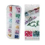 12 Färger 2mm Nagelkonst Glitter Rhinestones Case Box Naglar