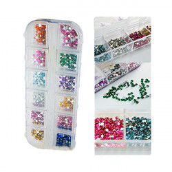 12 Färger 2mm Nagelkonst Glitter Rhinestones Case Box