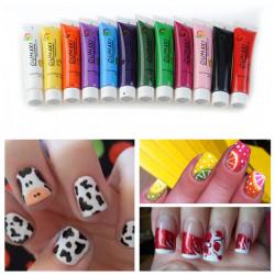 12 Colors Acrylic 3D Paint Nail Art Painting Pigment Tips Set