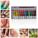 12 Colors Acrylic Nail Art Paint Set With Nail Art Brush Pen Nail Art