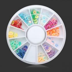 12 Färger Präglings DIY Nagelkonst Dekoration Hjul