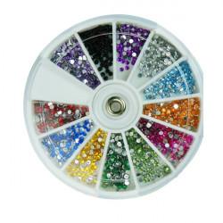 12 Färger Glitter Rhinestone Runda Nagelkonst Dekoration Hjul