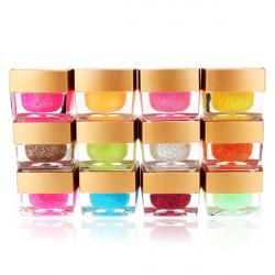 12 Farver Nail Art UV Builder Gel Glitter Akryl Sæt