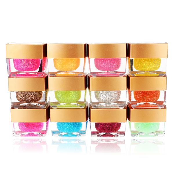 12 Färger Nagelkonst UV Builder Gel Glitter Akryl Set Naglar