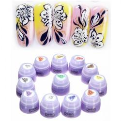 12 Färger Ljusbehandling Nagelkonst Design Målning Gel