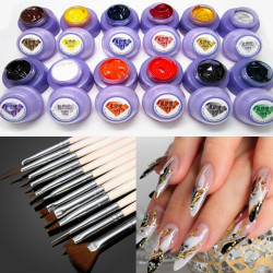 12 Colors Phototherapy Nail Drawing Gel 12 Painting Brushes Set