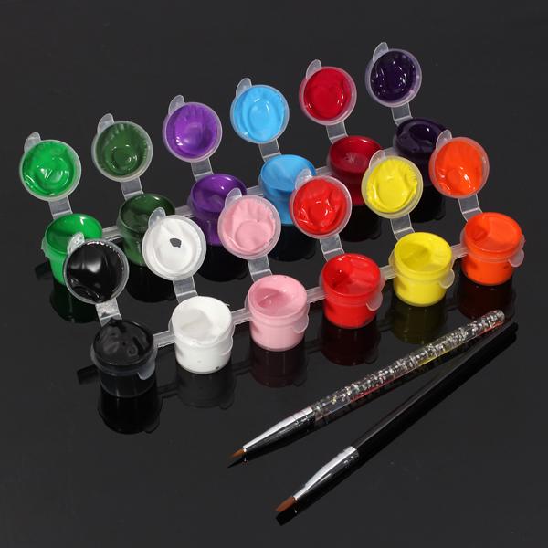 12 Färger Ren Nagelkonst Akrylmålning Pigment Borste Pen Set Naglar