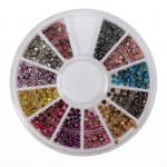 12 Colors Round Flatback Metallic Bead Nail Art Decoration Wheel Nail Art