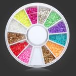 12 Färger Shell Pulver DIY Nagelkonst Dekoration Hjul Naglar