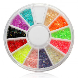 12 Farben glänzendes Funkeln Rhinestones Nagel Kunst Dekoration Rad