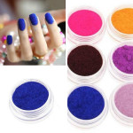 12 Färger Velvet Pulver Damm Nagelkonst Dekoration Set Naglar