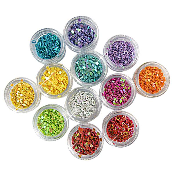 12 Mini Boxes Stjernede Heart Blomst Glitter Flakes Nail Art Negle