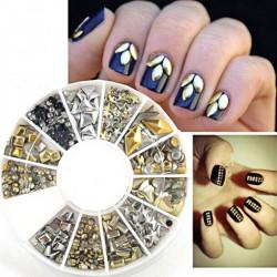 12 Blandede Styles 3D Guld Sølv Metal Nitter Negle Dekoration Hjul