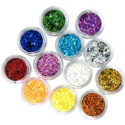 12 Colors Hexagon Glitter Powder1mm Set for 3D Nagelkonst