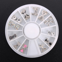12pcs Glitter Crystal Bowknot Nail Art Decoration Round Wheel