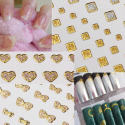 15 Style Glitter Gyldne Vand Nail Art Transfer Sticker Negletipper Tipper