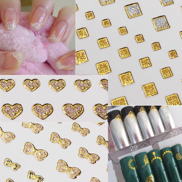 15 Art Glitter goldene Wasser Nagel Kunst Transfer Aufkleber Nagel Kunst Spitze Nageldesign