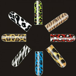 16 PCS Leopard Zebra Nail Art Polish Metal Full Stickers