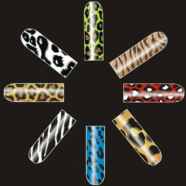 16 stk Leopard Zebra Nagel Kunst polnischen Metall Voll Aufkleber Nageldesign
