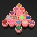 16 Krukor Glitter Pulver UV Builder Gel Nagelkonst Dekoration Set Naglar