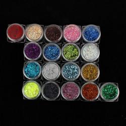 18 Färg Hexagon Gel Nagelkonst Glitter Skivor Dekoration