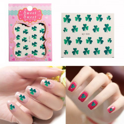 1PCS Green Shamrock Nail Art Decals Stickers Water Transfer