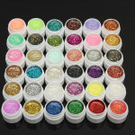 1 Pot 36 Färger Glitter UV Gel Builder Nail Art Naglar