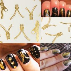 20 Pattern Nail Art Tips Golden Zipper Water Transfer Decals Stickers