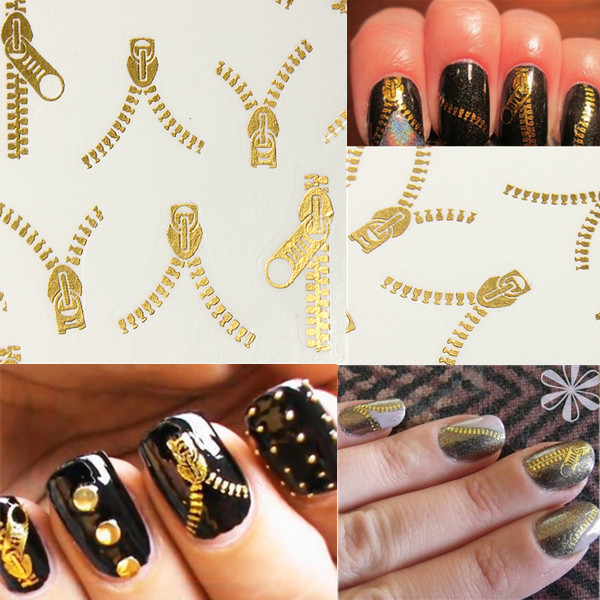 20 Pattern Nail Art Tips Golden Zipper Water Transfer Decals Stickers Nail Art