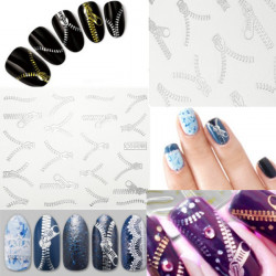 20 Pattern Nail Art Tips Silver Zipper Water Transfer Decals Stickers