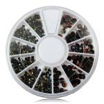 2/3 / 4mm Mix Storlek Svar Glitter Rhinestone Nail Dekoration Hjul Naglar