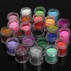 24 Färger Glitter Shiny Nagelkonst Pulver Dekoration