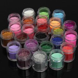 24 Colors Glitter Shiny Nail Art Powder Dust Decoration