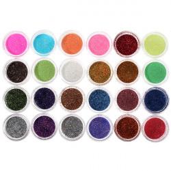 24 Colors Metal Sparkly Glitter Powder Nail Art Decoration Kit Set