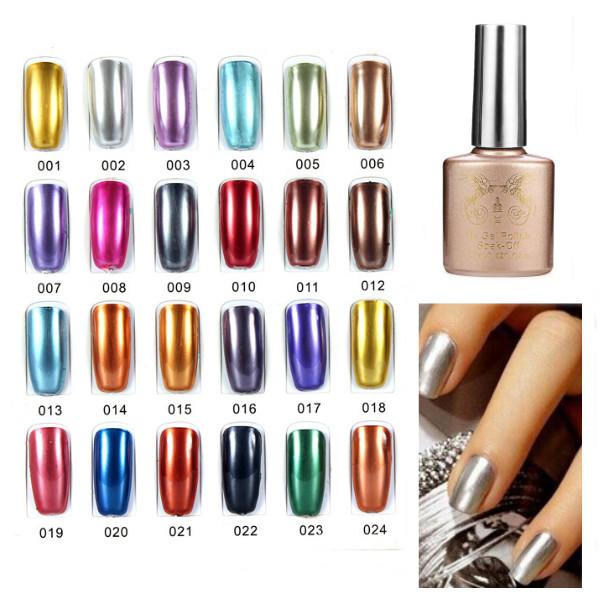 24 Färger Soak Off Metall Färg UV Gel Nagellack Naglar