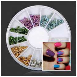 2mm Farverige Runde Metal Plating Nail Art Dekoration Hjul
