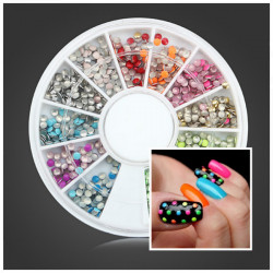 2mm Fluorescence Color Round Metal Stud DIY Nail Art Decoration Wheel