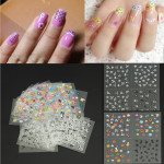 30 Ark DIY Farverige Nail Art 3D Stickers Tipper Blomst Dekoration Decals Negle