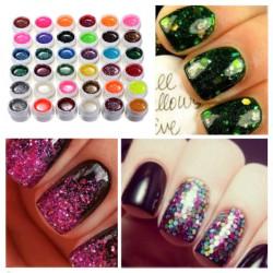 36 Colors Glitter Powder Shiny UV Gel Set Nail Art Decoration