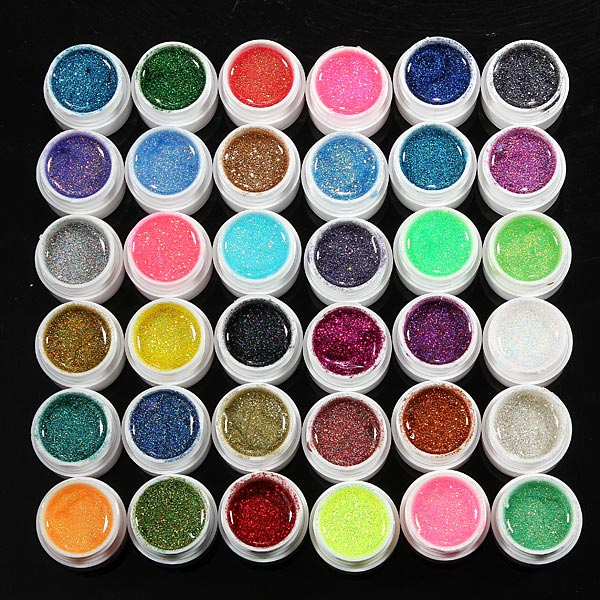 36 Pots Glitter Powder UV Builder Gel Nail Art Decoration Set Nail Art